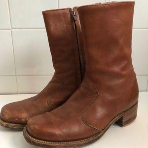 Vintage Frye Motorcycle Boots Tan Brown Mens 9